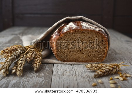 Fresh bread with wheat corns #490306903