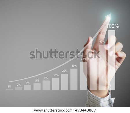Businessman with financial symbols coming #490440889