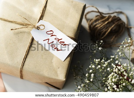 Shopping Tag Handwriting Words Note Concept #490459807