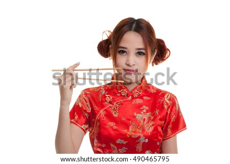Asian girl in chinese cheongsam dress with  chopsticks   isolated on white background. #490465795
