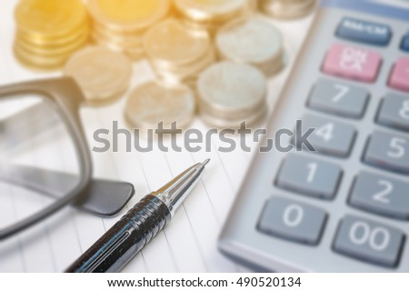 A finance Money, calculator notes, calculator top view with copy space work #490520134