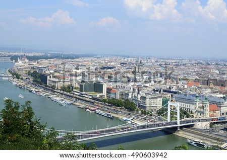 Panoramic view of Budapest from Citadella hill, Hungary #490603942