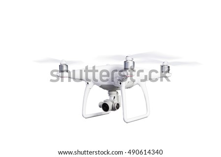 Flying helicopter drone with camera. Studio shot, isolated. #490614340