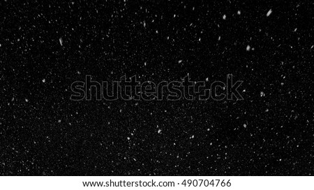 Falling down in slow motion real snowflakes from top to bottom calm snow, shot on black background, matte, wide angle, ed animation, isolated, perfect for digital composition #490704766
