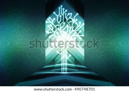 2d illustration fiber optics and circuit board ,technology background #490748701