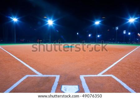 Baseball diamond shot at night from catchers box #49076350