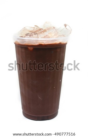A chocolate in a glass with ice  #490777516