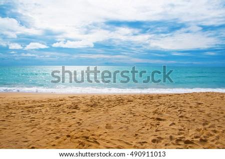 Beach summer sea sand footprint #490911013
