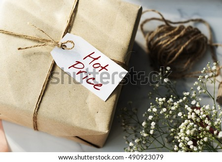 Shopping Tag Handwriting Words Note Concept #490923079