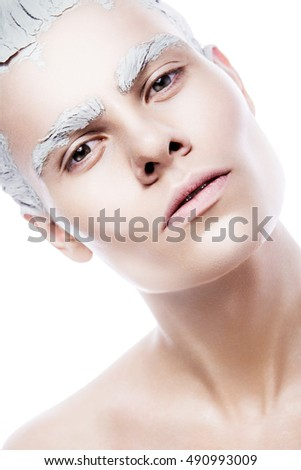 art man make up with white paint #490993009