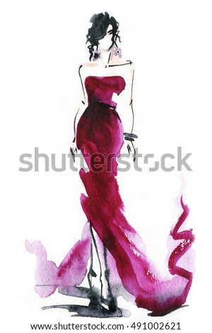 women with elegant dress .abstract watercolor .fashion background