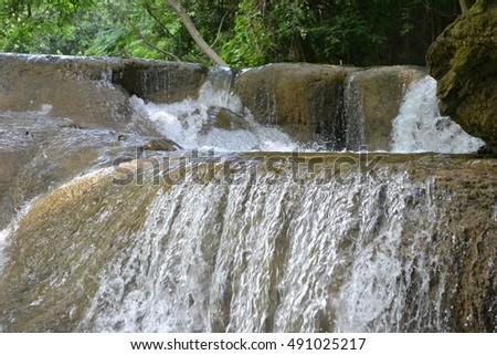 Waterfalll at Num Tok Chet Sao Noi National Park, Thailand #491025217