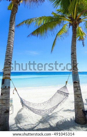 Hammock on a perfect white-sand beach between island palm trees - Alona, Panglao, Philippines #491045314