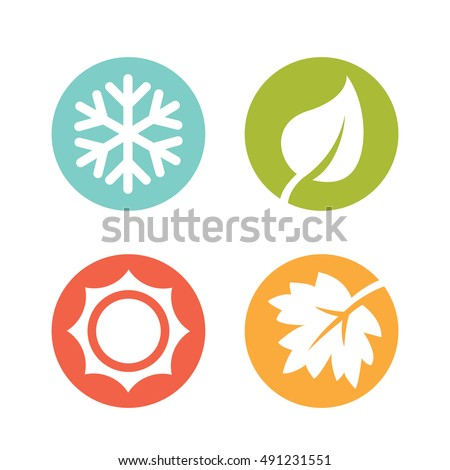 A set of four seasons icons. Winter, spring, summer and autumn. Royalty-Free Stock Photo #491231551