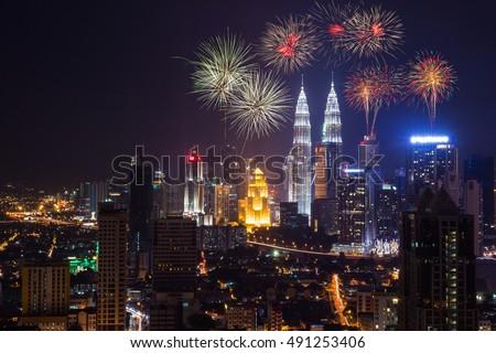 Fireworks Kuala Lumpur, Malaysia on National day rehearsal #491253406