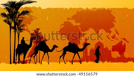 People And Camels Caravan With World Map On the Background #49156579