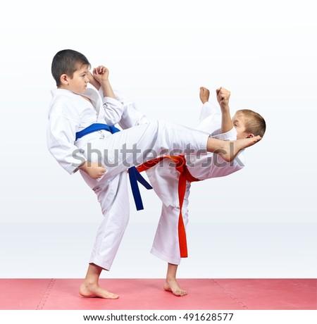Karate children are beating kicks #491628577