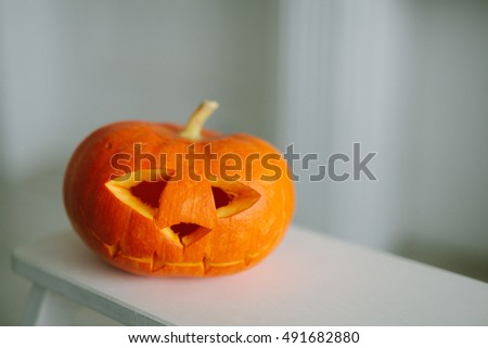 Holidays, halloween, decoration concept - close up of pumpkin #491682880