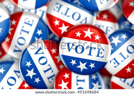 Vote buttons in red, white, and blue with stars - 3d rendering #491698684