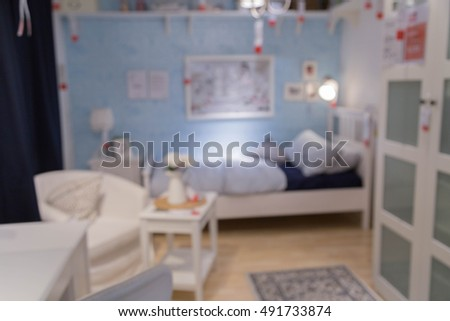 blur bed room picture background  of furniture mall