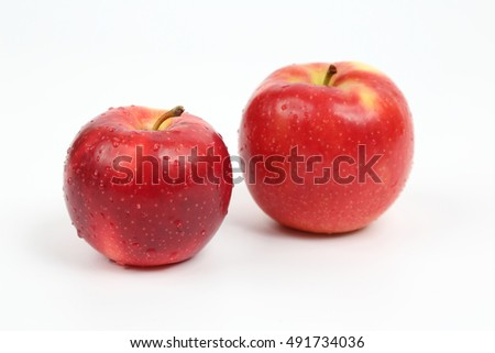 two red apple on white background #491734036