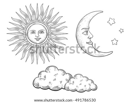 Sun and moon with face and clouds engraving raster illustration. Scratch board style imitation. Hand drawn image.