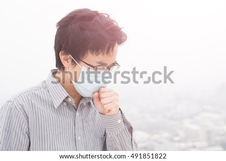 man wear masks with air pollution, asian #491851822