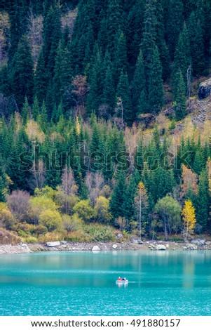 Mountain lake Issyk in Almaty city Kazakhstan  #491880157