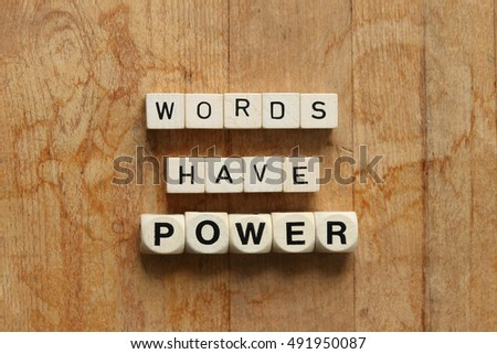 """""""WORDS HAVE POWER"""" printed on dice flat lay over head view against rustic wood background #491950087"""