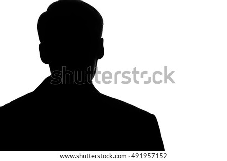 Portrait young man in suit and tie point on smart phone, tablet in hand - silhouette #491957152