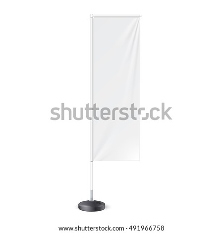 Outdoor Panel Flag With Ground Fillable Water Base, Stander Banner Shield. Mock Up, Template. Illustration Isolated On White Background. Ready For Your Design. Product Advertising. Vector. #491966758
