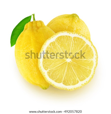 Isolated lemons. Two lemon fruits and a slice isolated on white background with clipping path #492057820