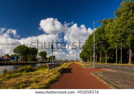 Alkmaar fietspad- The Netherlands #492058576