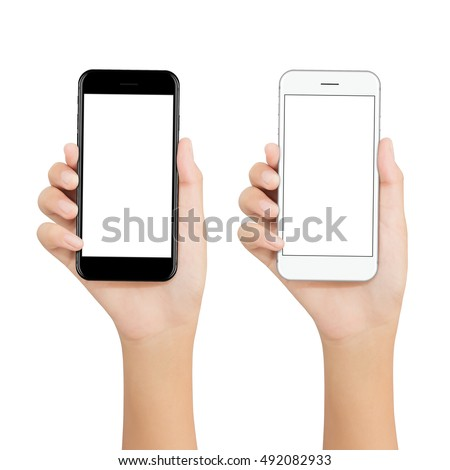 women hold phone showing blank screen display on white background, mockup new smartphone technology black and white color #492082933