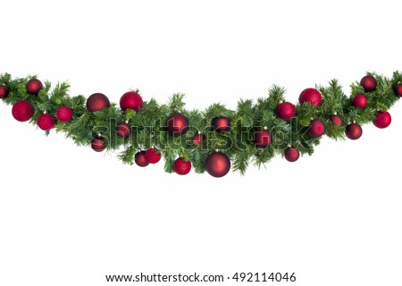 Christmas garland with red baubles.  Isolated on white. #492114046