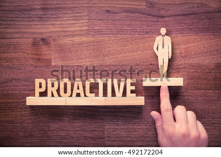 Proactive businessman concept. Coach helps manager to growth with proactivity application. #492172204