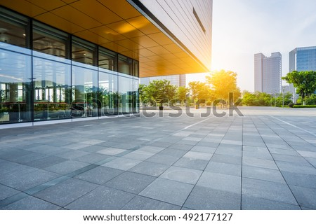 modern building and empty pavement,china. #492177127
