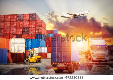 Industrial Container Cargo freight ship for Logistic Import Export concept #492230335
