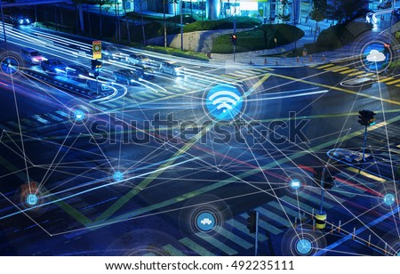 Traffict,vehicles, wireless communication network, internet of things, abstract image visual.