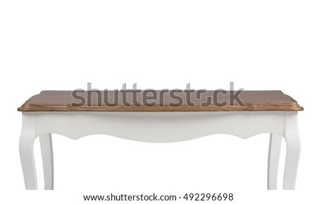 wooden table isolated on white #492296698