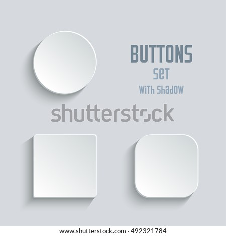 Vector white blank button set. Round square rounded buttons Royalty-Free Stock Photo #492321784