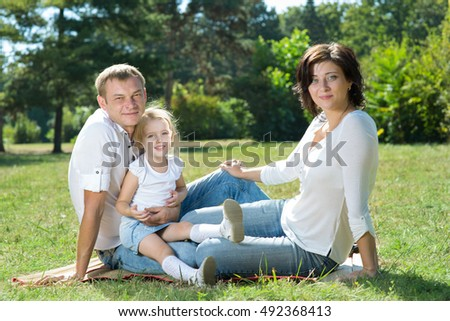 family with children in the park #492368413