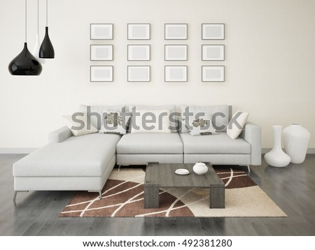 Modern stylish living room with a corner sofa, 3d rendering. #492381280