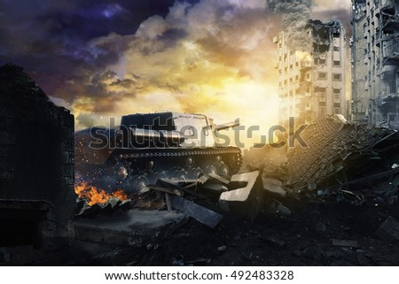 Tank in ruined city