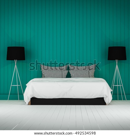Loft style bedroom 3d rendering #492534598