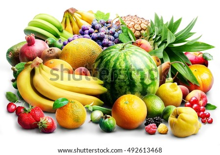 Composition of fruits and berries on a white background. Food background concept. #492613468