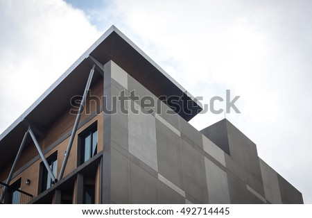 Architecture. Building Design Architecture. Modern office building. architecture detail. design and pattern. architecture with stone. building close up. detail of architecture. art with line minimal. #492714445