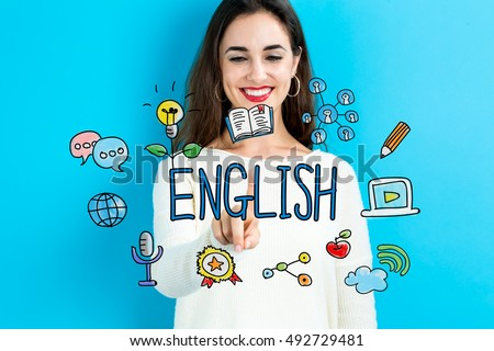 English concept with young woman on blue background Royalty-Free Stock Photo #492729481