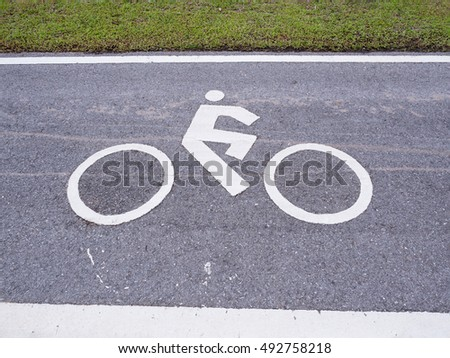Bicycle Way symbol on asphalt road #492758218