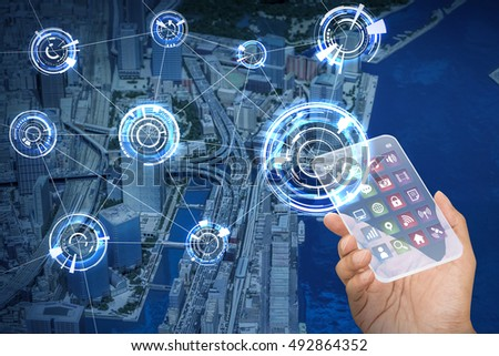 futuristic smart phone and wireless communication network, smart city, Internet of Things, abstract image visual #492864352